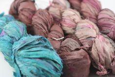 4 pack Reclaimed Sari Silk Ribbon: Metro Haze from DGY
