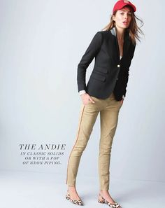 Piped Andie Chino. I own these pants and like the combo of the feminine fit with sporty detail.  The piping adds a little unique interest to an outfit.