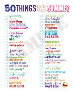 50 things to do this summer summer fun list, summer bucket list Summer Bucket List For Teens, Summer Fun For Kids, Summer Fun List, Teen Summer, Summer Plan, Teen Fun, Teenage Bucket Lists, Fun Bucket List Ideas, Bucket List For Couples