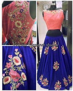 Blue and pink color party wear designer lehenga choli. Indian Party Wear, Indian Wear, Indian Dresses, Indian Outfits, Indian Skirt, Indiana, Indian Look, Desi Clothes, Lehenga Choli