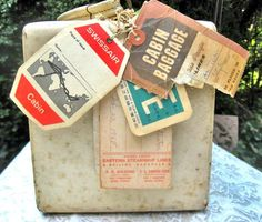 I love vintage stuff....so cute!!!  Vintage TrainCase w/Travel Tags From Everywhere by NuscheVonGroff, $225.00
