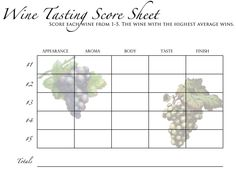 Wine tasting on pinterest for Wine tasting sheet template