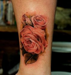 Red Rose Tattoo for Leg