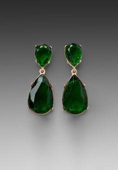 Kenneth Jay Lane Tear Drop Earrings in Gold/Emerald