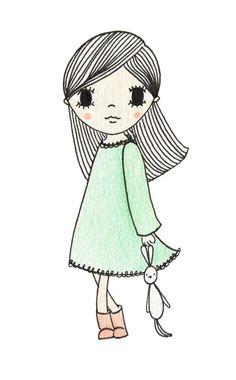 illustration girl | illustratie meisje | www.kinderkamervintage.nl  // De Kleine Etalage