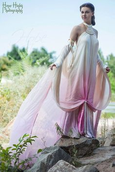 I created this gown as my first ever cosplay, and after nine months, have produced this beautiful confection of silk charmeuse and silk chiffon. The entire ensemble is made of 16 yards of 100% silk, and hand beaded and hand dyed to match the movie original. This is the gown Padme wears when she and Anakin arrive on Naboo in the Star Wars prequel movie, and where they finally have their first kiss. Filmed on the shores of Lake Como in Northern Italy, the dress was made to look as if it would…