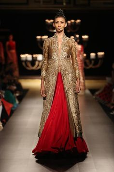 Manish Malhotra at India Couture Week 2014 - red lehenga skirt with long sleeved gold jacket blouse