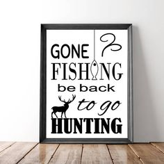 Hunting And Fishing Print, Wall Art Print, Printable Men Gifts, Man Cave, Digital Download, Garage, Hunting Gifts, Stag Print, Deer Art