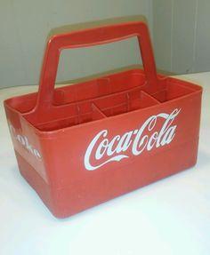 Vintage Red Plastic Coca Cola Handle Holder 6 Bottle Carrier Coke crate #COCACOLA