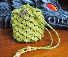 Small dragon scale pouch green cotton thread tree by Draiguna