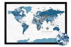 Rustic blue gray world map, unframed poster Framed World Map, World Map Poster, Framed Maps, Map Posters, World Map Pin Board, World Map With Pins, Push Pin World Map, 1st Anniversary Gifts, Paper Anniversary