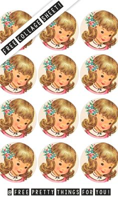 Precious Vintage Girl | If there is one thing I love to do is giving you free images! So today I have another gorgeous collage sheet ready to be printed! This time it's 1 inch circles of a precious little girl with wildflowers in her hair! | These would be perfect for buttons, scrappy journaling, jewelry, key-chains, pretty packagin and so much more!