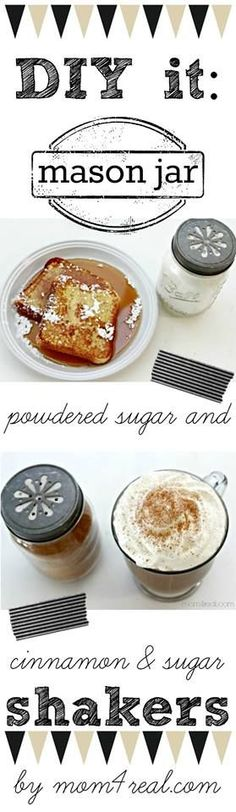 Cinnamon and Sugar Mason Jar Shakers - I need these. No question. I already have the daisy lids!