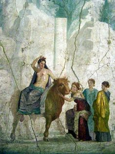 """This work was done by Pompeii called """"Europa and the Bull"""" in Century CE. This shows how Jupiter seduces Europa by changing himself into a bull. Roman History, European History, Ancient History, Art History, Ancient Pompeii, Pompeii And Herculaneum, Rome Antique, Art Antique, Fresco"""