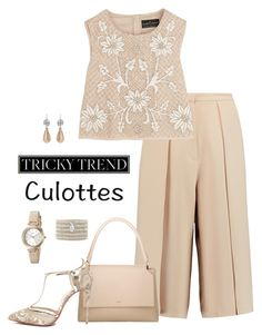 Chic Culottes by lwilkinson on Polyvore featuring Needle & Thread, Iris & Ink, Christian Louboutin, BOSS Hugo Boss, Press, Chan Luu, DKNY, TrickyTrend and culottes
