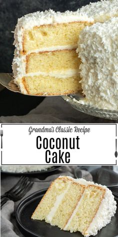 This is the BEST Coconut Cake recipe you'll ever make. Classic coconut cake recipe uses fresh coconut and a secret ingredient to make the cake extra moist! Southern Coconut Cake Recipe, Sour Cream Coconut Cake, Best Coconut Cake Recipe, Coconut Cake Frosting, Homemade Cake Recipes, Best Cake Recipes, Cupcake Recipes, Baking Recipes, Lemon Desserts