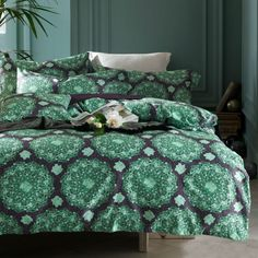 green boho style pattern bedding sets deep purple linens Egyptian cotton Queen/Full/Double/King size duvet cover set