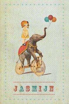 Geboortekaartje meisje - Lief meisje op een oflifant - vintage - Pimpelpluis - https://www.facebook.com/pages/Pimpelpluis/188675421305550?ref=hl (# vintage - ballon - ballonnen - meisje - olifant - circus - fiets - retro - dieren - kleurrijk - vrolijk - origineel)