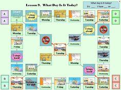 'What day is it today'라는 구문을 이해 한 후 복습의 차원에서 활용할 수 있는 게임으로  단순히 날짜를 묻고 답하기 보다 게임을 통해서 더 쉽고 재밌게 공부할 수 있다.