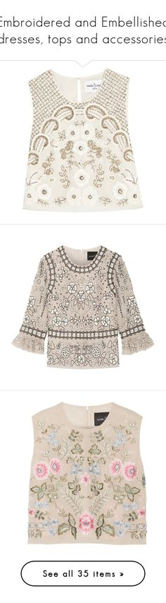 """""""Embroidered and Embellished dresses, tops and accessories"""" by lorika-borika on Polyvore featuring tops, crop top, shirts, sleeveless tops, ivory, sequined tops, white crop shirt, cropped tops, white sleeveless top и pink shirts"""