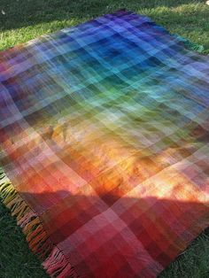 Rigid heddle woven blanket, woven in strips, made with Knit Picks Pallette yarn. Stunning!