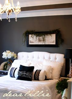 chocolate brown walls with lots of creamy white sprinkled with black
