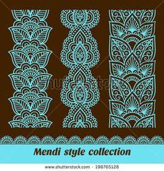 Imagens, fotos stock e vetores similares de Ornamental seamless borders. Vector set with abstract floral elements in indian style. Rangoli Patterns, Mehndi Patterns, Mehndi Art Designs, Doodle Patterns, Mandala Artwork, Mandala Drawing, Mandala Painting, Lace Painting, Dot Painting