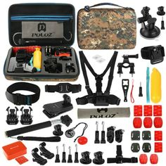 [$21.51] PULUZ 53 in 1 Accessories Total Ultimate Combo Kit with Camouflage EVA Case (Chest Strap + Suction Cup Mount + 3-Way Pivot Arms + J-Hook Buckle + Wrist Strap + Helmet Strap + Extendable Monopod + Surface Mounts + Tripod Adapters + Storage Bag + Handlebar Mount) for GoPro HERO4 Session /4 /3+ /3 /2 /1