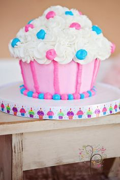 Giant Cupcake Smash Cake  - The Bakery at Elkmont 2012    Photography by Reflections by Amanda