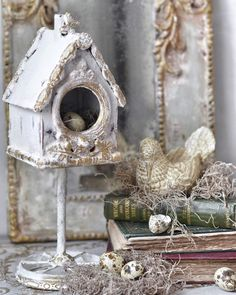 Inspiring & Dreamy — Cat-arzyna Store - A mix of beautiful French and. Shabby Chic Crafts, Vintage Crafts, Shabby Chic Decor, French Style Decor, French Country Decorating, Clay Art Projects, Diy Projects, Shabby Chic Birdhouse, Decor Crafts
