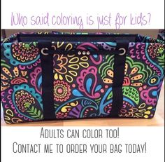 Thirty-One Gifts Black Playful Parade can be transformed into a Colorful pattern with Sharpies. Great products to buy from Thirty-One. Would make a great night of creativity & fun for anyone.