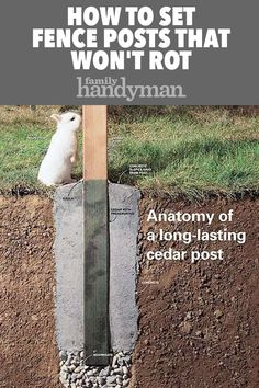 How to Set Fence Posts That Won't Rot Keep moisture and insects from destroying your cedar fence posts home maintenance Diy Fence, Backyard Fences, Backyard Projects, Outdoor Projects, Garden Projects, Backyard Landscaping, Fence Ideas, Fence Post Crafts, Fence Garden
