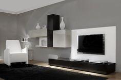 COMPOSICION 22  Composición modular de líneas rectas y asimetricas y panel para TV de 360 cm.