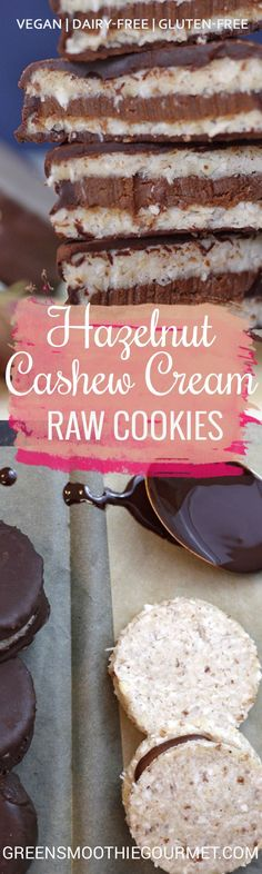 Hazelnut Cashew Cream Raw Vegan Sandwich Cookies