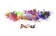 Dallas, Texas - Watercolor Skyline - Illustration (Art Prints, Wood & Metal Signs, Canvas, T Watercolor Splatter, Watercolor Canvas, Watercolor Background, Metal Wall Art, Canvas Wall Art, Metal Artwork, Dallas Skyline, Watercolor Postcard, Free Art Prints