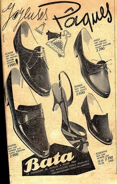 1950s Bata shoes ad for Easter (France) #batashoes #bata120years #advertising