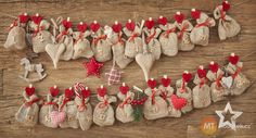 Holiday countdown calendar - another, more rustic take, on the bag advent idea. Christmas Countdown, Christmas Calendar, Homemade Advent Calendars, Wooden Advent Calendar, Christmas Crafts For Kids, Christmas Time, Hanukkah Crafts, Burlap Christmas, Christmas Stockings