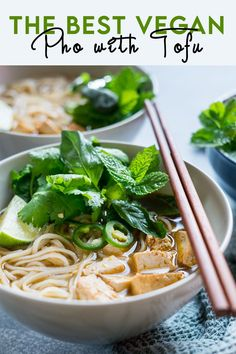 Our #delicious #Vegan #Pho is the perfect recipe for you if you want to slurp up a big hot bowl of #noodles. The spiced broth combined with rice noodles and fresh herbs is just the perfect combination for a #healthy meal that will warm up your body. Tofu Recipes, Delicious Recipes, Asian Recipes, Vegetarian Recipes, Vegan Main Dishes, Best Side Dishes, Manger Healthy, Winter Dinner Recipes, Rice Noodles