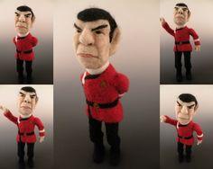 Spock Needle Felted Wool Art Doll - Sculptural Needle Felting by Kay Petal Wool Needle Felting, Needle Felted Animals, Felt Animals, Felted Wool, Janis Joplin, Knitting Humor, Knitting Yarn, Spock, Bono Vox