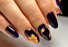 Easy Nail Art Designs for Women 2018 Fall Gel Nails, Cute Nails For Fall, Fall Acrylic Nails, Autumn Nails, Fall Nail Art Autumn, Nail Art For Fall, Nails Design Autumn, Shellac Nails, Neon Nails