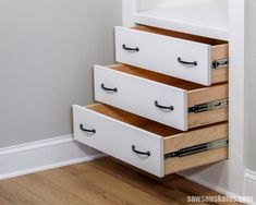 I never knew it was so easy to build drawers! This tutorial breaks down building a drawer step by step. And you don't need any complicated tools like a table saw or router. All you need is a miter saw, circular saw, and pocket hole jig. Even beginners can build a strong drawer box for a cabinet, closet, or DIY furniture! #sawsonskates Home Made Table Saw, Best Table Saw, Table Saw Stand, Diy Table Saw, Make A Table, Building Drawers, Diy Furniture Building, Diy Furniture Plans Wood Projects, Woodworking Projects