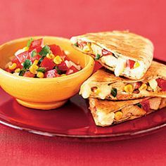 Chicken Quesadillas with Roasted Corn Salsa - Healthier Mexican Food Recipes - Health Mobile