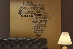 Typical South African words, I want to do this at home! Only I wouldn't use all these exact words. I'm not too keen on having babalaas written on my wall. South African Decor, South African Homes, African Theme, African Home Decor, African Room, African Style, African Words, Stencil, African Interior