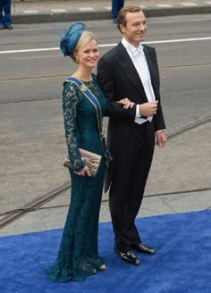 Princess Carolina de Bourbon de Parma and Albert Brenninkmeijer arrive at the Nieuwe Kerk in Amsterdam, where the investiture of the new king takes place.