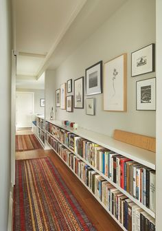 love the idea of shelves along the hallway (girl's hall is most likely too narrow...)
