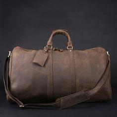 Men's Handmade Vintage Leather Travel Bag / Luggage / Duffle Bag / Sport Bag / Weekend Bag #n66-3