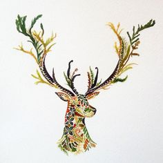animal portraits formed of fern