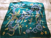 Large 100% Silk Scarf Square by Dreamtime, Marine Design