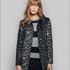 "LOFT Snow Leopard Car Coat Gorgeous animal print car coat in shades of blue and tan. Covered button front, front flap pockets, button tab at back waist. Fully lined. 33"" long. 56% polyester, 31% acrylic, 8% wool, 5% other fibers. Lining 100% poly. Worn once! LOFT Jackets & Coats"