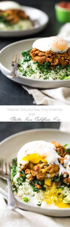 Mexican Tofu Scramble with Cauliflower Rice and Kale - The perfect weeknight meal for your Meatless Monday that is gluten free, low carb and SO delicious! | Foodfaithfitness.com | #recipe